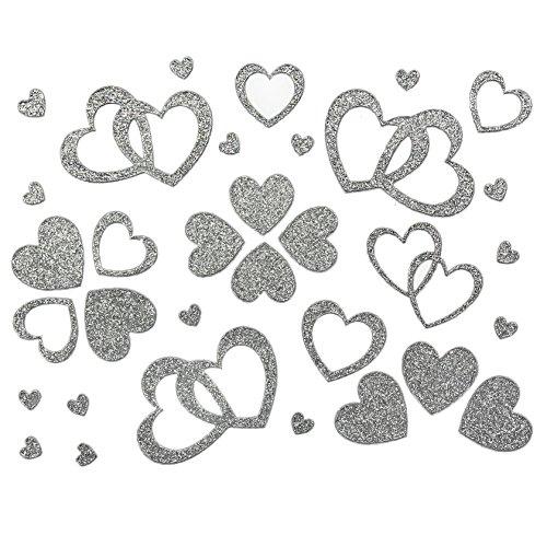 Oblique Unique 100 Stück Herzen Sticker in Rot, Gold oder Silber - Glitter Glitzernde Herzen (Silber)