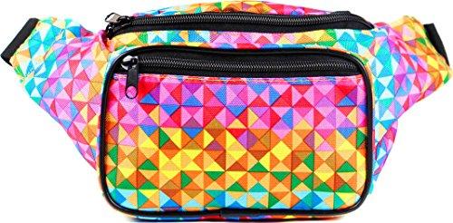 SoJourner Bags Riñonera - Talla única, diseño de triángulos arcoíris