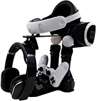 Cusfull PlayStation VR Showcase cargador de pantalla Carga de carga del muelle con indicador LED para PlayStation4 controlador y PS Move Motion Controller