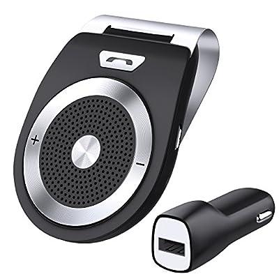 zhuanjiao Kit Mains Libres pour Voiture Bluetooth 4.1 Allumage Automatique par capteur de mouvement intégré,Support du GPS, Musique, Handsfree Bluetooth Car Kit Wireless SpeakerPhone for the sun visor -Kit de pare-soleil Appairage avec 2 téléphones for iP