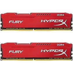HyperX Fury - Memoria RAM de 16 GB (DDR4, Kit 2 x 8 GB, 2400 MHz, CL15, DIMM XMP, HX424C15FR2K2/16) Color Rojo
