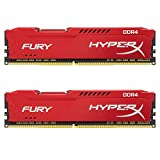 HyperX Fury Memory Red 16GB DDR4 2133MHz Kit 16GB DDR4 2133MHz módulo de - Memoria (16 GB, 2 x 8 GB, DDR4, 2133 MHz, 288-pin DIMM, Rojo)