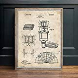 Poster,Music Recording Vintage Blueprint Posters and Prints,Music Room Wall Art Painting,Decor Wall Pictures Bar Retro Poster B 8X10Inch(20X50Cm)