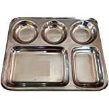 Zmatoo Stainless Steel 5 Compartment Dinner Plate/ Canteen Tray/ Thali/Plate, Large(Silver) - Set Of 2
