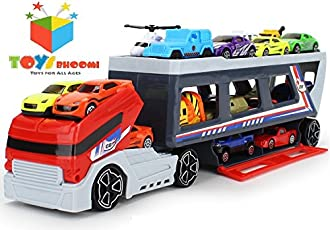 Toys Bhoomi Pull Along Long Haul Transport Truck with Die-Cast Vehicles
