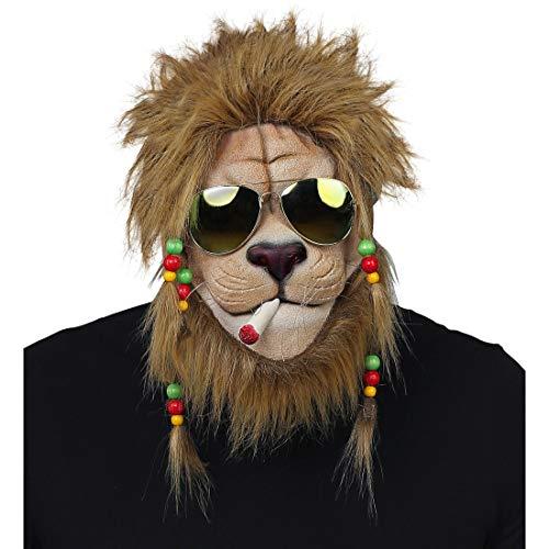 NET TOYS Rasta-Löwenmaske mit Sonnenbrille | Braun-Beige | Witzige Unisex-Maske Tiermaske chilliger Löwe | EIN Blickfang für Straßenkarneval & Mottoparty