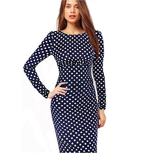 Nonbrand Damen Etui Kleid, Gepunktet Beige marineblau 36 Fitted Wiggle Dress