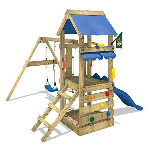 WICKEY Spielturm FreshFlyer Kletterturm mit Sandkasten Kletterwand Strickleiter Schaukel und Rutsche Podesthöhe 90cm