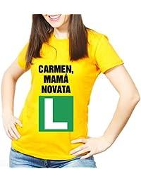 Calledelregalo Regalo Para Madres Personalizable: Camiseta 'Mamá novata' Personalizada con Su Nombre y La 'L' de Prácticas