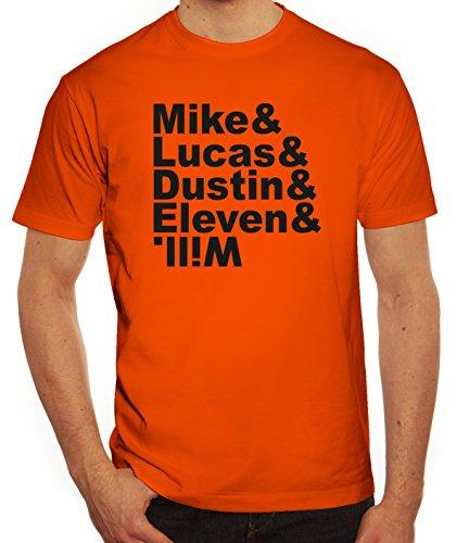 Mystery Herren T-Shirt mit Mike Lucas Dustin Eleven Will Motiv Orange