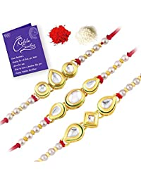 Sukkhi Incredible Kundan Gold Plated Rakhi Combo (Set of 3) with Roli Chawal and Raksha Bandhan Greeting Card For Men