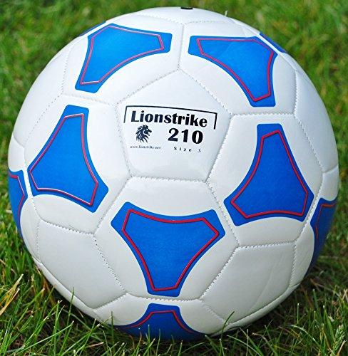 Balón de fútbol Lionstrike ligero, de cuero, de tamaño 3, color blanco, color blanco, tamaño 3