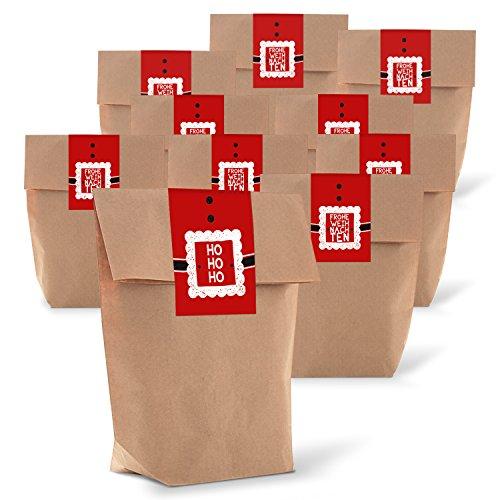 25 braune natur weihnachtliche Verpackung Geschenk-Tüten Kraftpapier 14 x 22 x 5,6 cm + 25 Aufkleber Sticker FROHE WEIHNACHTEN rot weiß HO HO HO Verpackung Weihnachtsgeschenken Kunden give-away