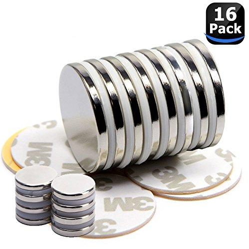 16 pezzi magneti a disco in neodimio con nastri adesivi, Forti magneti di terra e adesivi a doppia faccia, per DIY, magneti frigorifero e magneti lavagna Bianca, per artigianato e decorazioni - 32X2mm and 10X3mm (confezione da 8) (16PC)