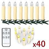 SunJas 40 Set Warmweiss LED kerzen Lichterkette Weihnachtskerzen Kabellos Funk Fernbedienung Christbaumsdeko Weihnachten christmasParty (Beige)
