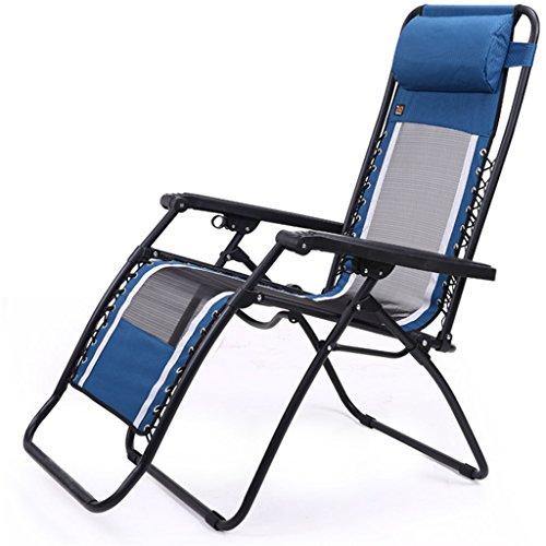 SjYsXm-Recliners chair Blau und Grau Mittagspause Liegestuhl Klappstuhl Net Tuch atmungsaktiv...