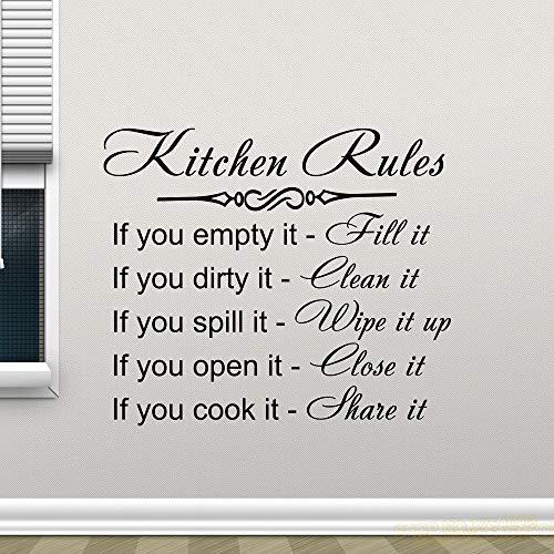 Ajcwhml Küche Regeln Wandtattoo Dekor Zeichen Zitat Vinyl Aufkleber Poster Home Geschenke Abnehmbare Kunstwandhaupt Dekoration Wandtattoos 42 * 48 Cm