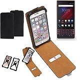 K-S-Trade Flipstyle Hülle für BlackBerry Key 2 LE Dual-SIM Handyhülle Schutzhülle Tasche Handytasche Case Schutz Hülle + integrierter Bumper Kameraschutz, schwarz (1x)