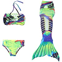SISHUINIANHUA Mermaid Tail Swimming Girls 3Pcs Bikini Set Soporte Monofin, A, 140cm