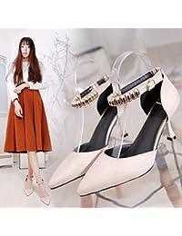 Xue Qiqi Luz de punta fina con el alto-Heel Shoes mujer con corbata ranurada abalorios Baotou sandalias,35, m...