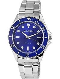 Alain Miller Hombre Reloj analógico reloj de pulsera de color plateado cuarzo y carcasa de metal