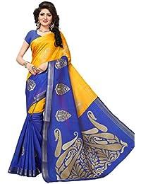 Vibhooti Sales Women's Cotton Silk Saree With Blouse Pics (CRYSTAL BLUE JARI_Yellow Colour_Free Size)