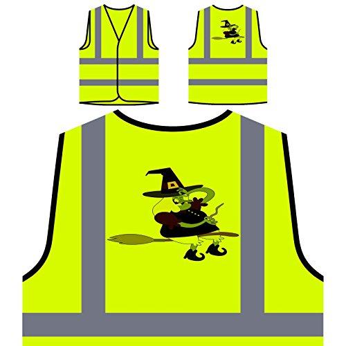 rsonalisierte High Visibility Gelbe Sicherheitsjacke Weste r182v (Hexe Fliegen)