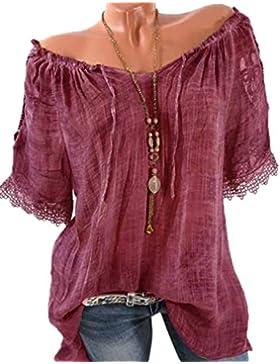 JackenLOVE Verano Casual Suelto Blusas Túnicas Encaje Splicing Shirt Tops Sudaderas Camisetas T Shirt Pullover...