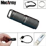 mecarmy X4S Schlüsselanhänger Taschenlampen LED Taschenlampe EDC Mini Kleine Taschenlampe USB wiederaufladbar 10180Lithium-Ionen Akku, mit thenines USB Lichter, grau