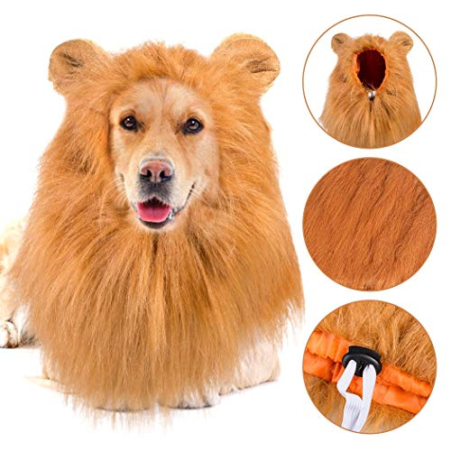 HongBao Hund Lion Mähne, Haustier Kostüm Lion Mähne, Hund Lion Mähne Perücke, Ostern Halloween Kostüme festlich (Große Ehre Kostüm)