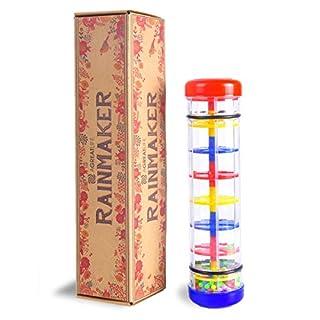 aGreatLife® Wohltuender Regenmacher aus Holz, ideales Spielzeug oder Musikinstrument für 2 Jährige - Klangbaum aus Holz mit Regenrassel auch als Babyspielzeug für 0 - 12 Monate geeignet