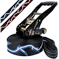 Slackline 10 m Evolution 2.0 (loadable up to 3 tons) by BB Sport, Colour:black-blue-white