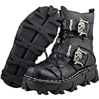 Lorie & Knight Mens Black Genuine Leather Military Army Boots Gothic Skull Punk Motorcycle Martin Boots (11)
