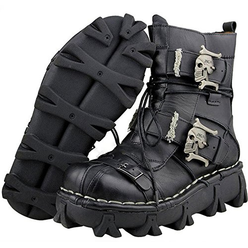 Lorie & Knight Mens Black Genuine Leather Military Army Boots Gothic Skull Punk Motorcycle Martin Boots