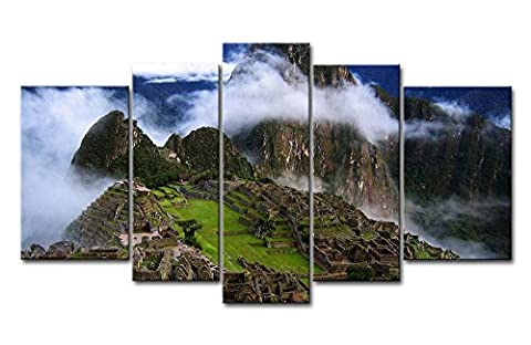 5pièces Décoration murale Tableau Sanctuaire historique de Machu Picchu brouillard Blanc avec des Impressions sur toile images à la ville à l'huile pour Home Décor Imprimé moderne Décoration pour chambre à coucher