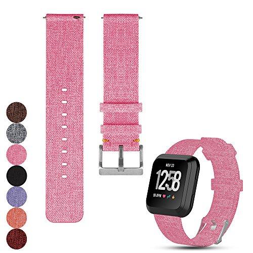 Feskio Zubehör Ersatz einstellbare Leinwand Armbanduhr Armband für Fitbit Versa Fitness Smart Watch