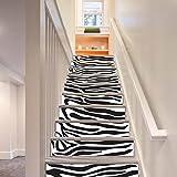 GPFDM Kreativ 3D Zebra Muster Treppen Aufkleber DIY Holztür Renovierung Wandgemälde Selbstklebend PVC Fenster Sockelleiste Abziehbilder Wandaufkleber, 1 Set 12 pcs, 100 * 18cm
