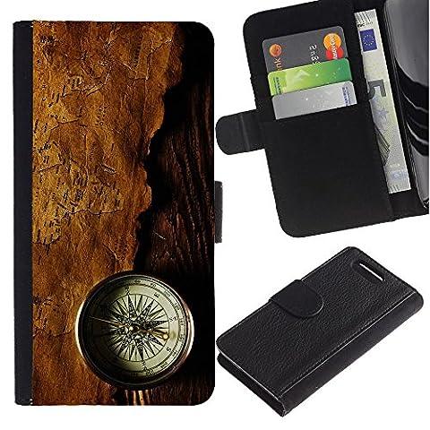 Stuss Case / Lederhülle Leder schützt - Kompass - Karte