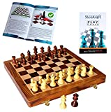 "StonKraft 12"" Magnetic Wooden Chess Board Game Set with Magnetic Wooden Chess Pieces (with Extra Queens) and Chess Book"