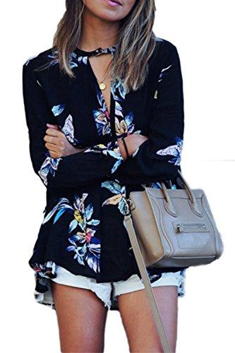 YACUN Impresión floral para mujer Flojas de la gasa de la manga de la camiseta larga de la blusa de las M Blusas De Mujeres