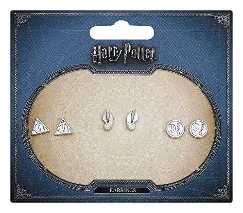 Harry Potter Symbole Ohrstecker-Set silberfarben