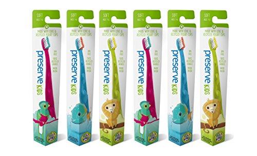 Preserve Hygiène Dentaire Brosse à Dents Junior de 2 à 8 Ans Lot de 6