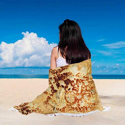 Lucky Mall Haupt Dekorationen! Lustig Burritos-Komfortdecke mit Quaste, Mode Sommer Strandtuch Lustige Bettwäsche Lebensmittel Decke Runde Decke, 3 Muster
