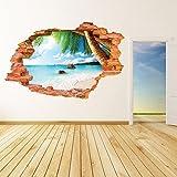 AUVS® 3D- Selbstklebende Abnehmbaren Durchbrechen Die Mauer Vinyl Wandsticker / Wandgemälde Kunst Aufkleber Dekorateur (8001F Kokosnuss Meeresstrand (60 * 90cm))