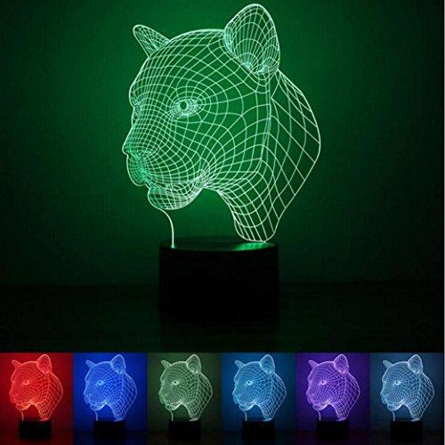 (WAOBE Bunte 3D Visuelle Led-nachtlichter für Kinder Touch USB Tisch Lampara Lampe Baby Schlafen Nachtlicht (Panther Kopf), Touch and Remote)