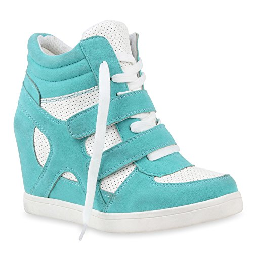 Stiefelparadies , chaussures compensées femme Turquoise