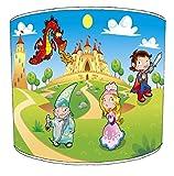 Premier Abat-Jour Plafond Chevalier Dragon Merlin Princesse pour Enfant Lampe Nuances, 30,5cm
