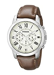 Fossil Grant Brown Leather Mens Watch - FS4735