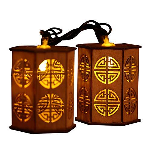 FBGood 10 LED Lichterkette, Kreativ Laterne Holzhütte Garten Hängeleuchten Lampenschnur Hof Beleuchtung Wasserdicht Licht String für Wohnzimmer, Hochzeiten, Party Dekoration (Mehrfarbig)