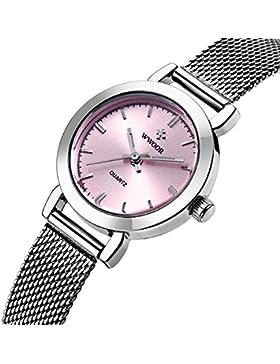 XLORDX Luxus Damen Armbanduhr Analog Quartz Ultra dünn Edelstahl Mesh Band Uhren Lila Silber